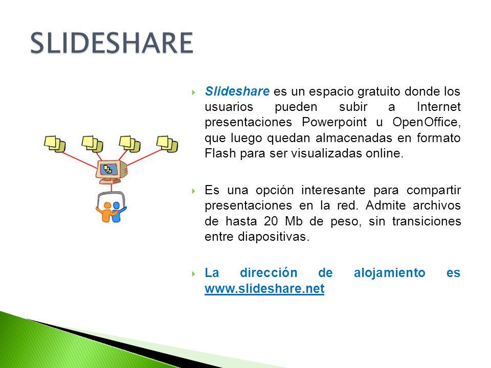 Slideshare es un espacio gratuito donde los usuarios pueden subir a Internet presentaciones Powerpoint u OpenOffice, que luego quedan almacenadas en f