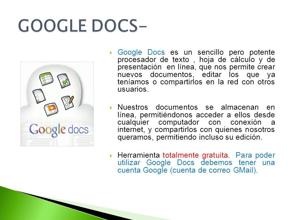 Google Docs es un sencillo pero potente procesador de texto, hoja de cálculo y de presentación en línea, que nos permite crear nuevos documentos, edit