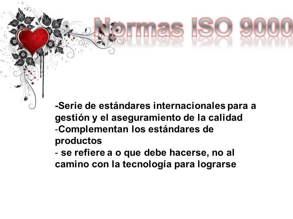 -Serie de estándares internacionales para a gestión y el aseguramiento de la calidad -Complementan los estándares de productos - se refiere a o que de