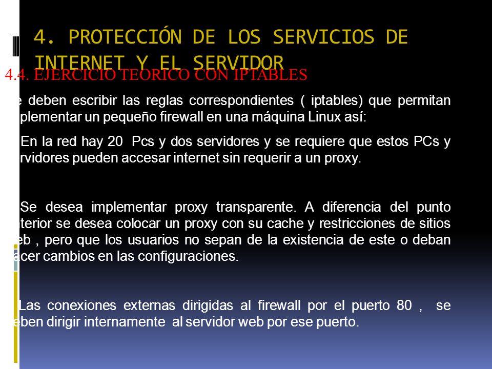 4. PROTECCIÓN DE LOS SERVICIOS DE INTERNET Y EL SERVIDOR 4.4. EJERCICIO TEORICO CON IPTABLES Se deben escribir las reglas correspondientes ( iptables)