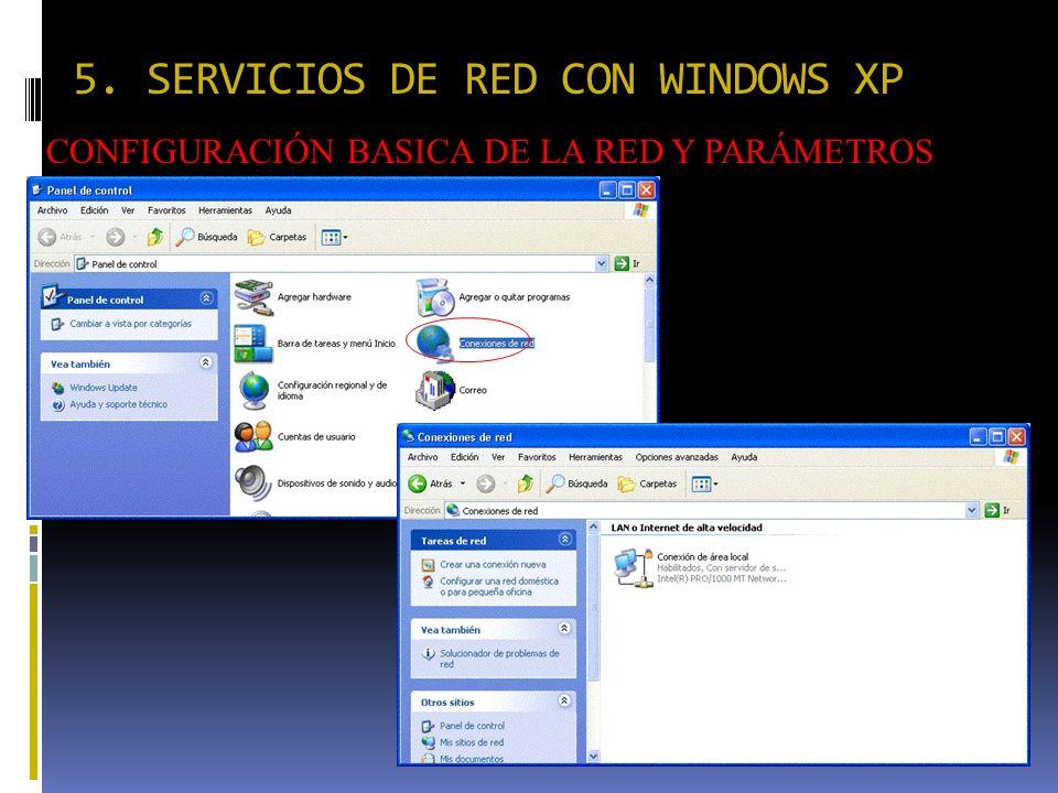 5. SERVICIOS DE RED CON WINDOWS XP CONFIGURACIÓN BASICA DE LA RED Y PARÁMETROS