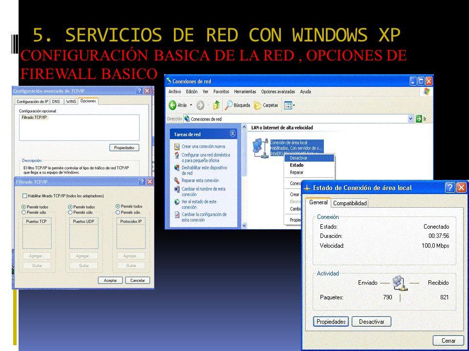 5. SERVICIOS DE RED CON WINDOWS XP CONFIGURACIÓN BASICA DE LA RED, OPCIONES DE FIREWALL BASICO