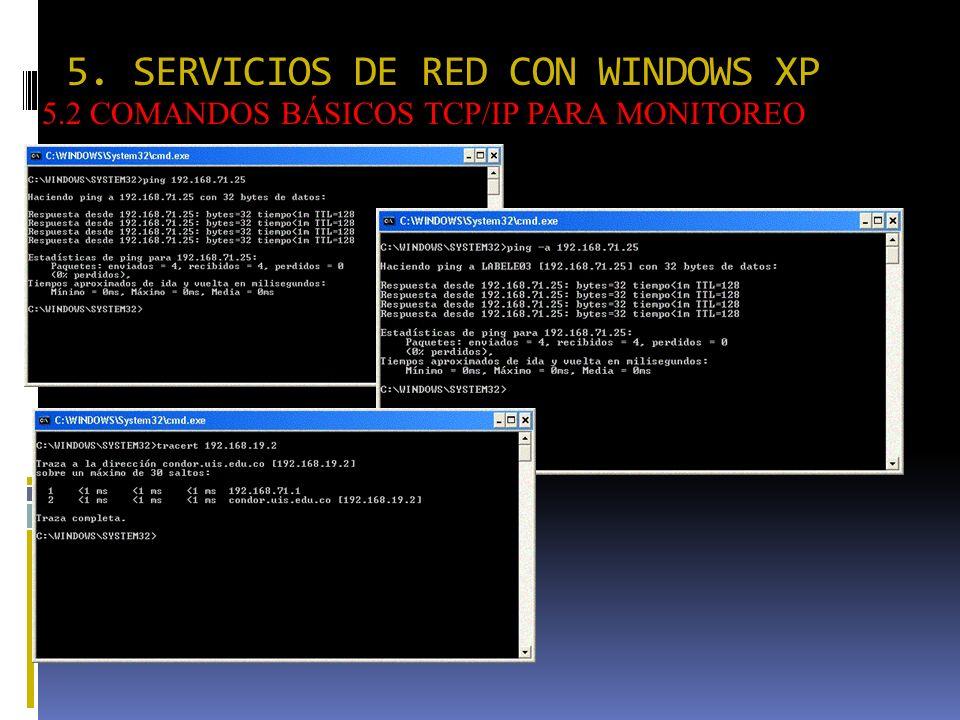 5. SERVICIOS DE RED CON WINDOWS XP 5.2 COMANDOS BÁSICOS TCP/IP PARA MONITOREO