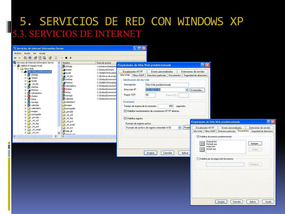 5. SERVICIOS DE RED CON WINDOWS XP 5.3. SERVICIOS DE INTERNET