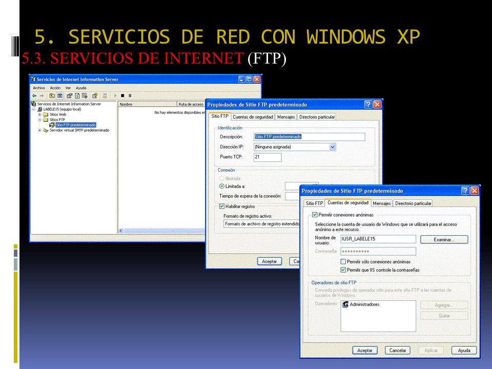5. SERVICIOS DE RED CON WINDOWS XP 5.3. SERVICIOS DE INTERNET (FTP)