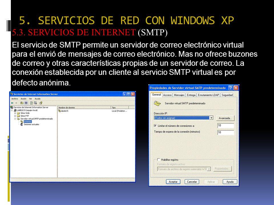 5. SERVICIOS DE RED CON WINDOWS XP 5.3. SERVICIOS DE INTERNET (SMTP) El servicio de SMTP permite un servidor de correo electrónico virtual para el env
