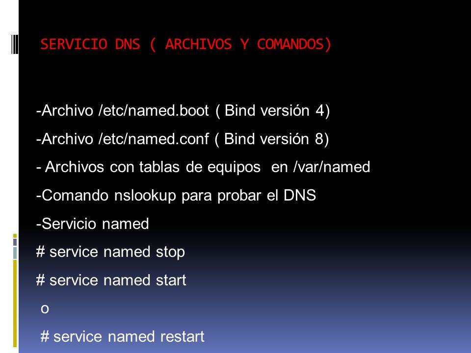 SERVICIO DNS ( ARCHIVOS Y COMANDOS) -Archivo /etc/named.boot ( Bind versión 4) -Archivo /etc/named.conf ( Bind versión 8) - Archivos con tablas de equ