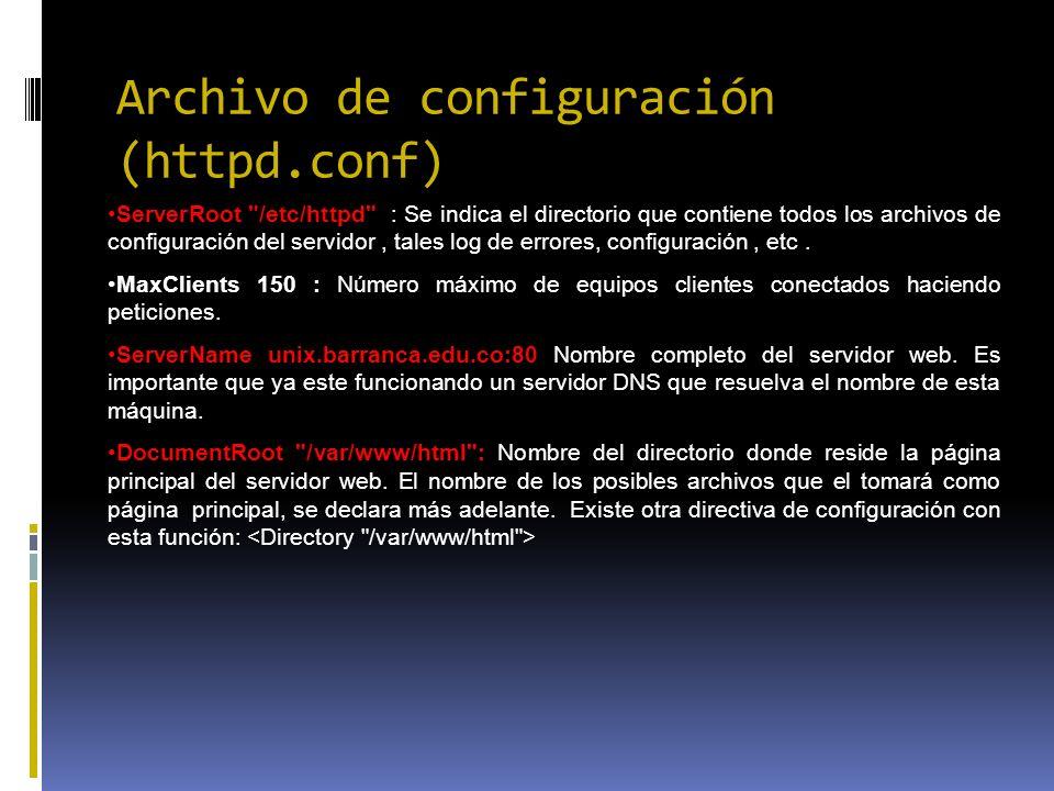 Archivo de configuración (httpd.conf) ServerRoot