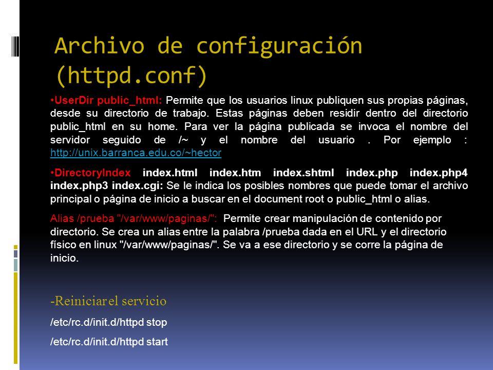 Archivo de configuración (httpd.conf) UserDir public_html: Permite que los usuarios linux publiquen sus propias páginas, desde su directorio de trabaj