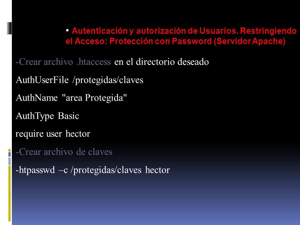 Autenticación y autorización de Usuarios. Restringiendo el Acceso: Protección con Password (Servidor Apache) -Crear archivo.htaccess en el directorio