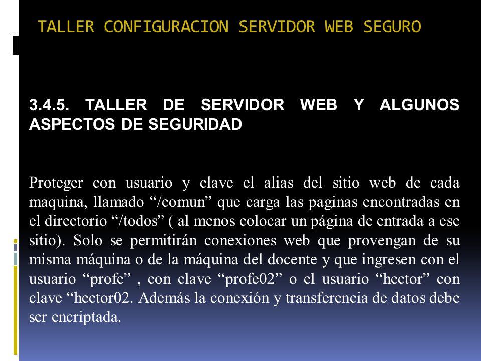 TALLER CONFIGURACION SERVIDOR WEB SEGURO 3.4.5. TALLER DE SERVIDOR WEB Y ALGUNOS ASPECTOS DE SEGURIDAD Proteger con usuario y clave el alias del sitio
