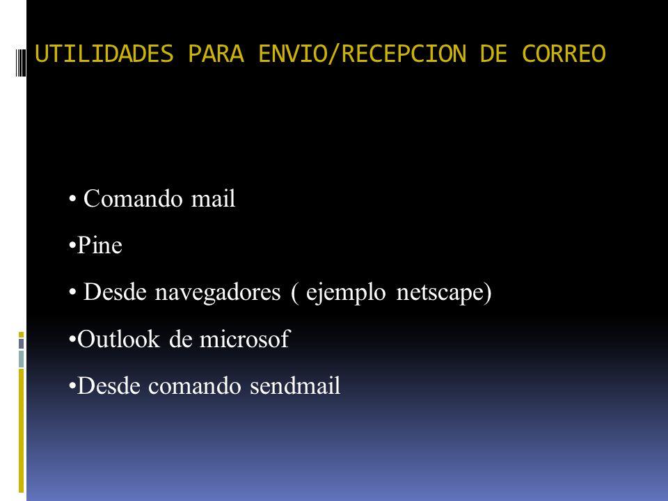 UTILIDADES PARA ENVIO/RECEPCION DE CORREO Comando mail Pine Desde navegadores ( ejemplo netscape) Outlook de microsof Desde comando sendmail