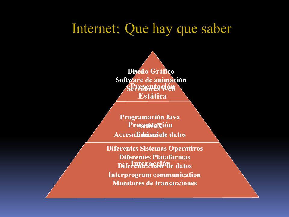 Presentación Estática Presentación dinámica Interacción Diseño Gráfico Software de animación Servidores Web Internet: Que hay que saber Programación J