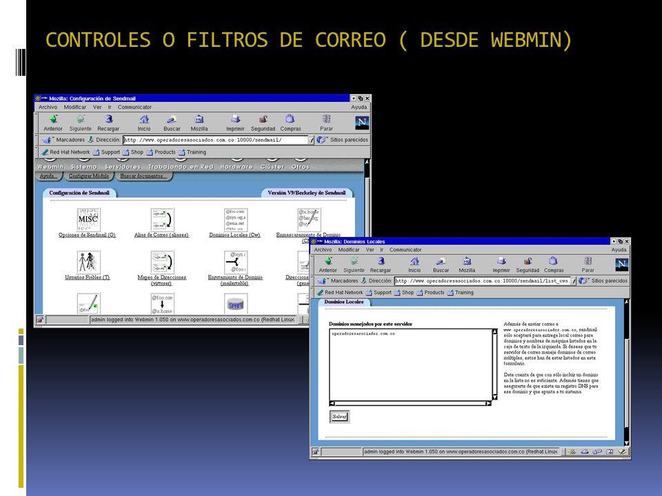 CONTROLES O FILTROS DE CORREO ( DESDE WEBMIN)