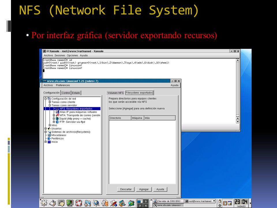 NFS (Network File System) Por interfaz gráfica (servidor exportando recursos)