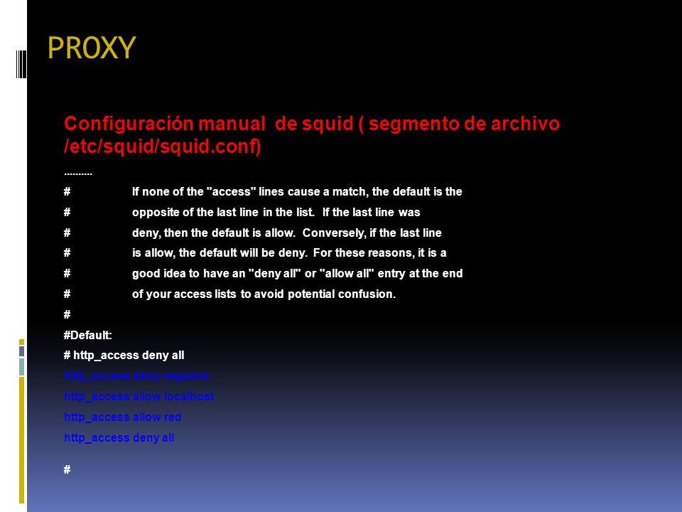 PROXY Configuración manual de squid ( segmento de archivo /etc/squid/squid.conf).......... #If none of the