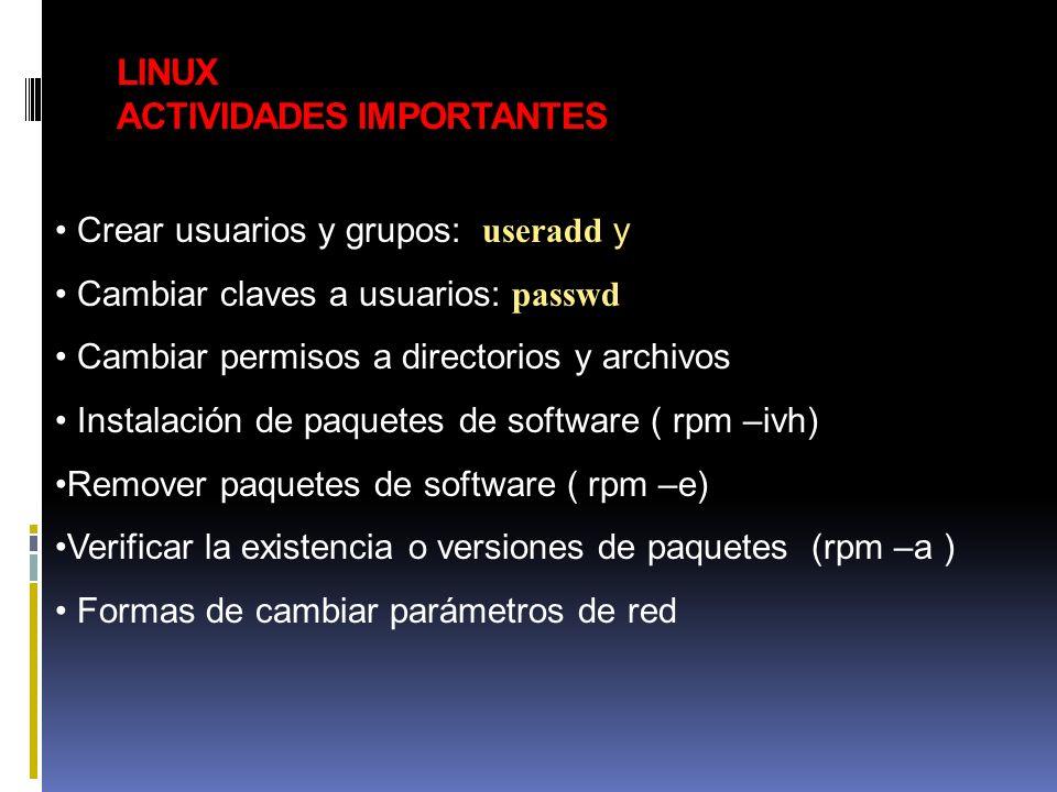 LINUX ACTIVIDADES IMPORTANTES Crear usuarios y grupos: useradd y Cambiar claves a usuarios: passwd Cambiar permisos a directorios y archivos Instalaci