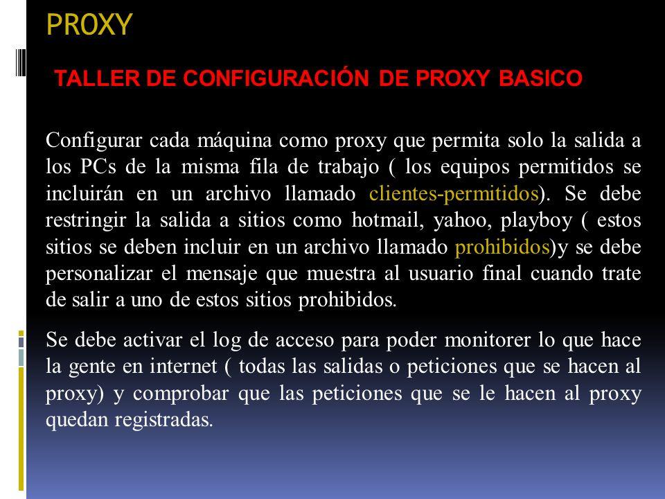 PROXY TALLER DE CONFIGURACIÓN DE PROXY BASICO Configurar cada máquina como proxy que permita solo la salida a los PCs de la misma fila de trabajo ( lo