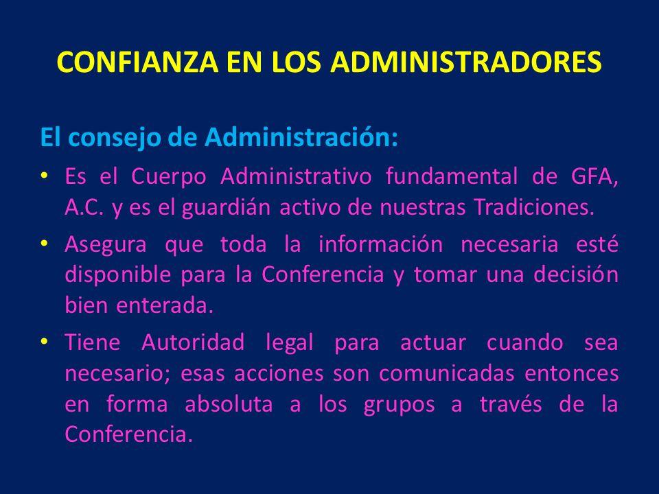 CONFIANZA EN LOS ADMINISTRADORES El consejo de Administración: Es el Cuerpo Administrativo fundamental de GFA, A.C. y es el guardián activo de nuestra