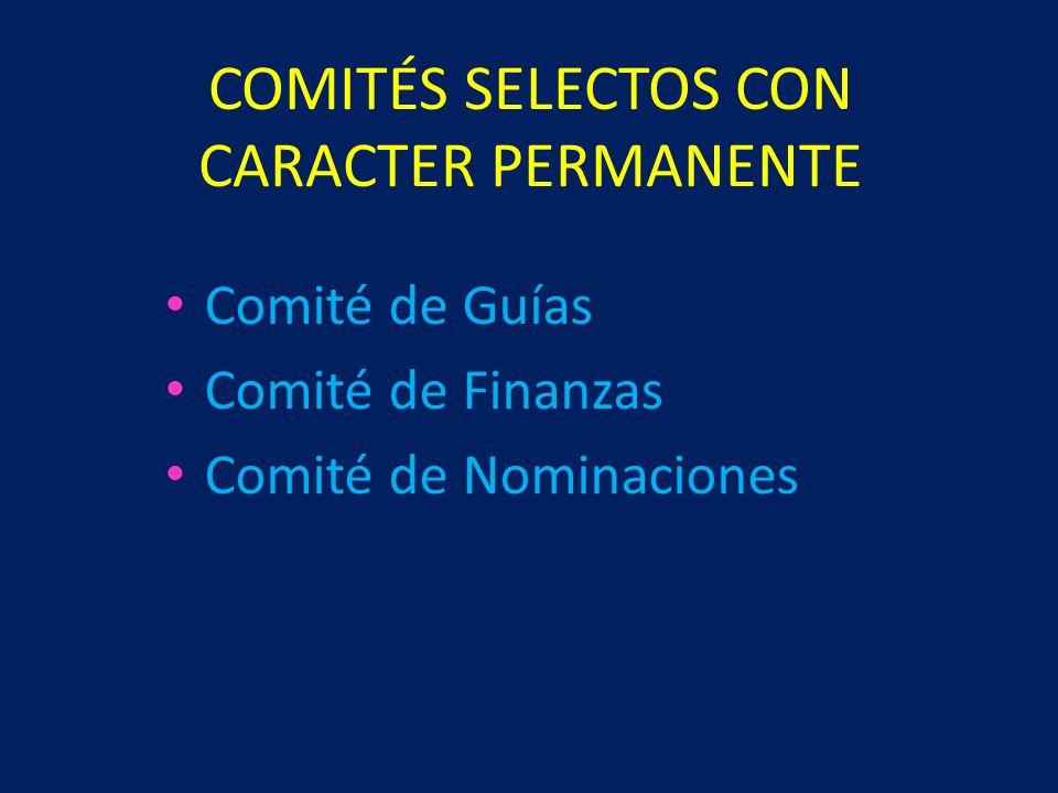 COMITÉS SELECTOS CON CARACTER PERMANENTE Comité de Guías Comité de Finanzas Comité de Nominaciones