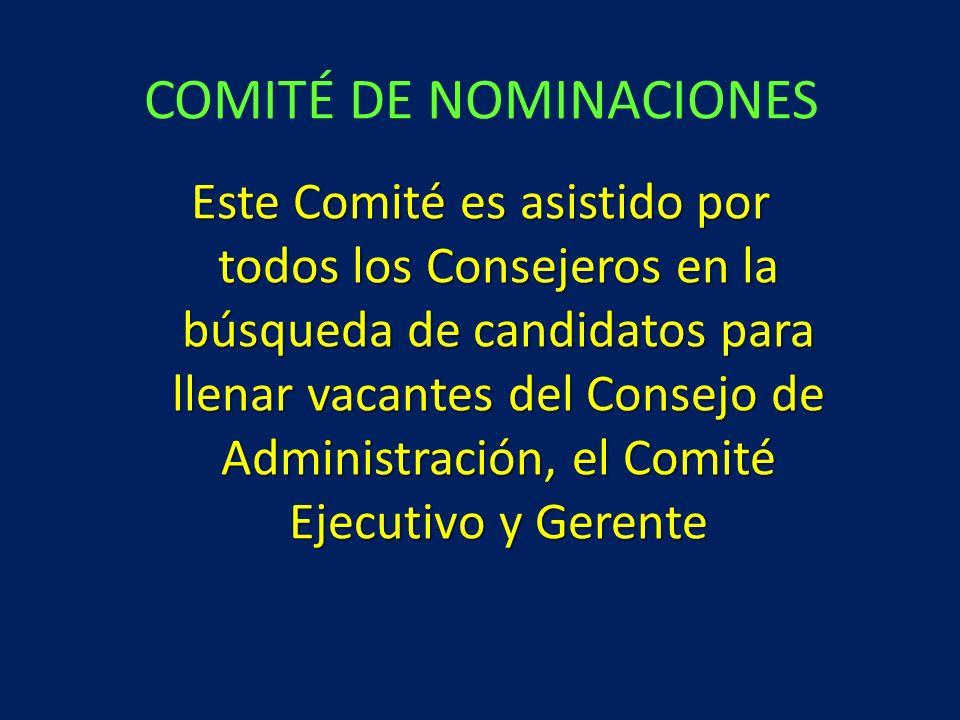 Este Comité es asistido por todos los Consejeros en la búsqueda de candidatos para llenar vacantes del Consejo de Administración, el Comité Ejecutivo