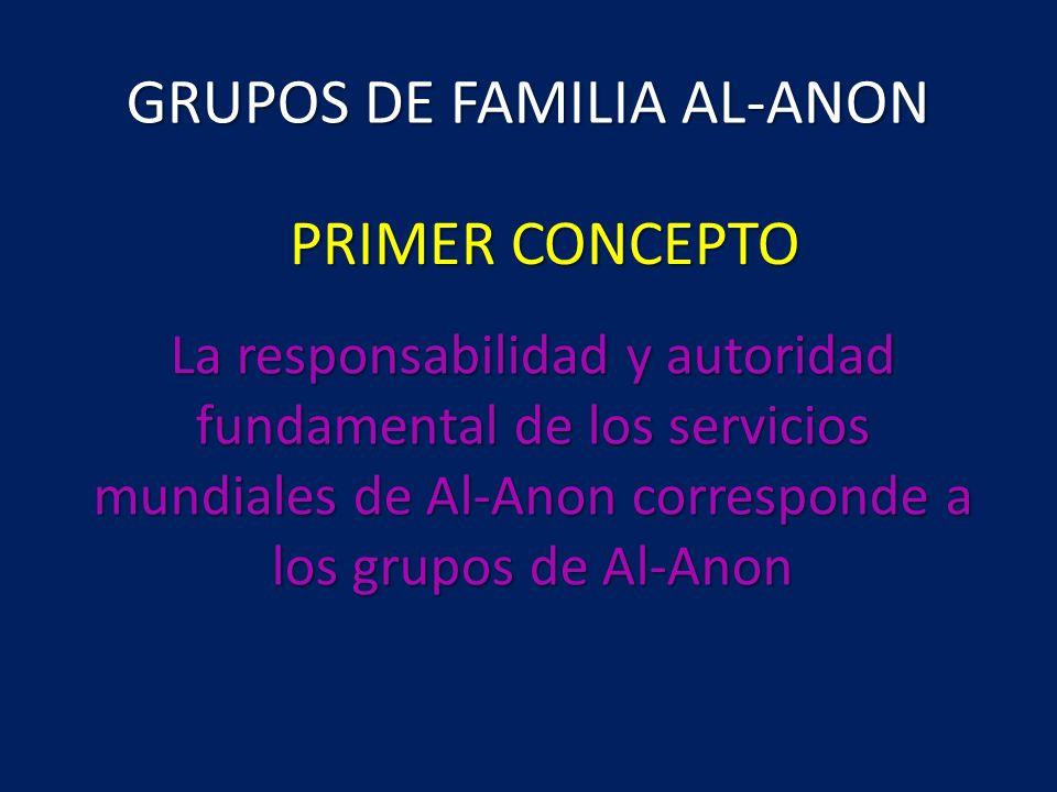 GRUPOS DE FAMILIA AL-ANON La responsabilidad y autoridad fundamental de los servicios mundiales de Al-Anon corresponde a los grupos de Al-Anon PRIMER