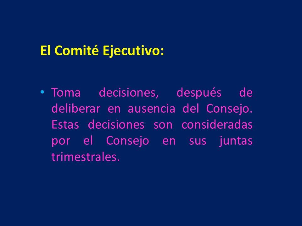 El Comité Ejecutivo: Toma decisiones, después de deliberar en ausencia del Consejo. Estas decisiones son consideradas por el Consejo en sus juntas tri