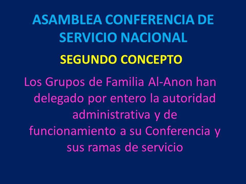 SEGUNDO CONCEPTO Los Grupos de Familia Al-Anon han delegado por entero la autoridad administrativa y de funcionamiento a su Conferencia y sus ramas de