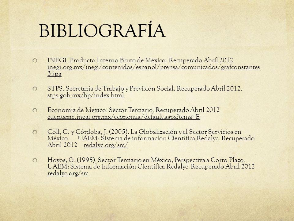 BIBLIOGRAFÍA INEGI. Producto Interno Bruto de México. Recuperado Abril 2012 inegi.org.mx/inegi/contenidos/espanol/prensa/comunicados/grafconstantes 3.
