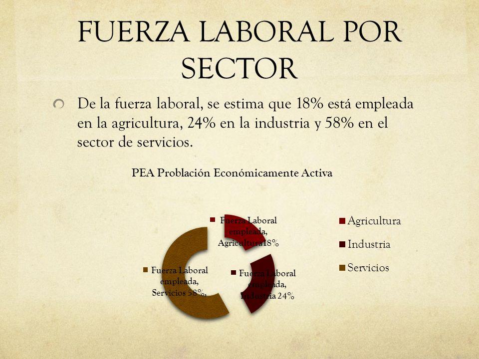 FUERZA LABORAL POR SECTOR De la fuerza laboral, se estima que 18% está empleada en la agricultura, 24% en la industria y 58% en el sector de servicios
