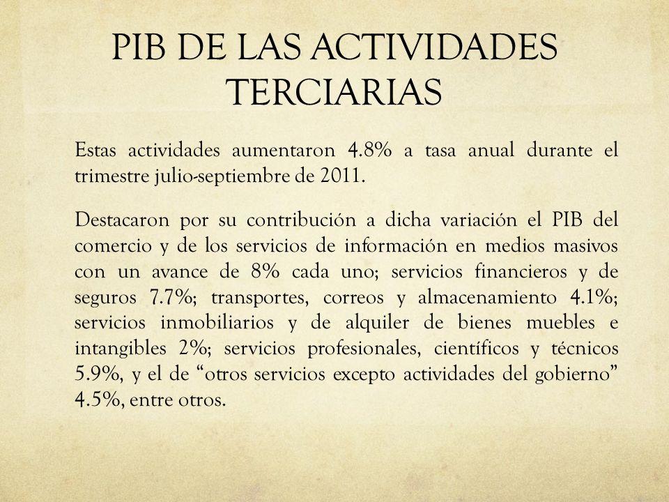PIB DE LAS ACTIVIDADES TERCIARIAS Estas actividades aumentaron 4.8% a tasa anual durante el trimestre julio-septiembre de 2011. Destacaron por su cont