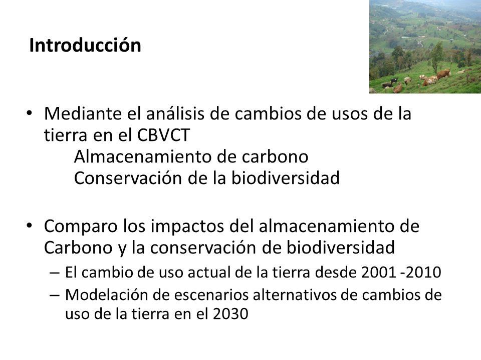 Mediante el análisis de cambios de usos de la tierra en el CBVCT Almacenamiento de carbono Conservación de la biodiversidad Comparo los impactos del a