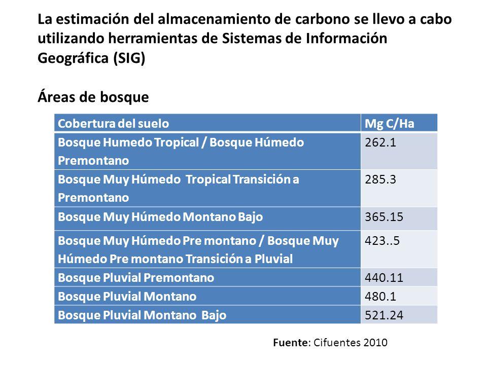 La estimación del almacenamiento de carbono se llevo a cabo utilizando herramientas de Sistemas de Información Geográfica (SIG) Áreas de bosque Cobert