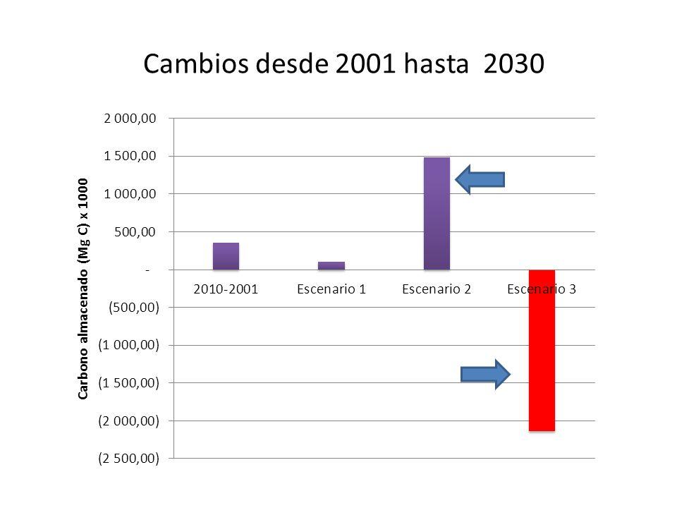 Cambios desde 2001 hasta 2030