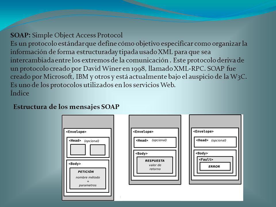 SOAP: Simple Object Access Protocol Es un protocolo estándar que define cómo objetivo especificar como organizar la información de forma estructuraday
