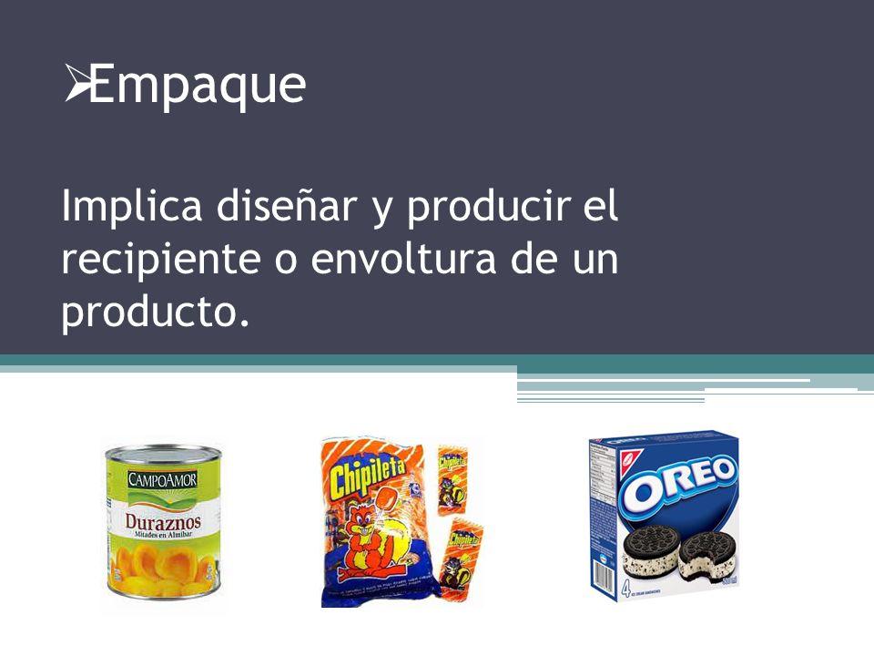 Empaque Implica diseñar y producir el recipiente o envoltura de un producto.