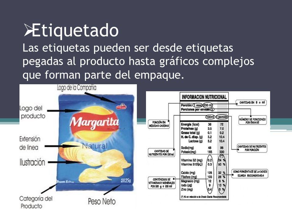 Etiquetado Las etiquetas pueden ser desde etiquetas pegadas al producto hasta gráficos complejos que forman parte del empaque.