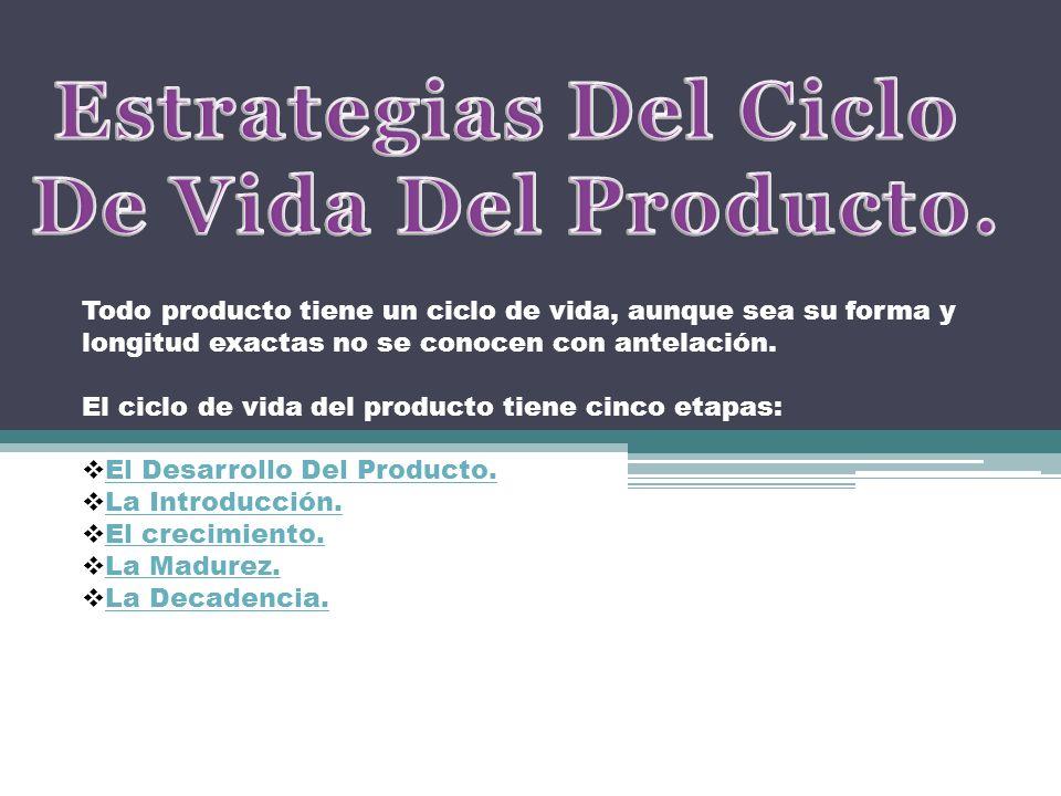 Todo producto tiene un ciclo de vida, aunque sea su forma y longitud exactas no se conocen con antelación. El ciclo de vida del producto tiene cinco e