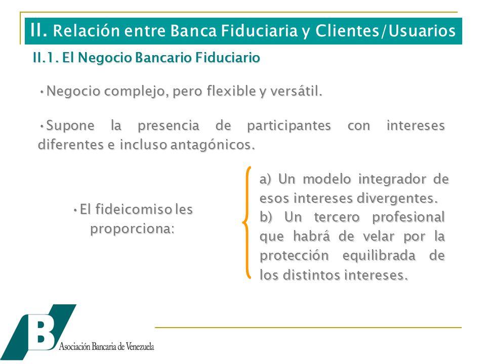 II.1. El Negocio Bancario Fiduciario Negocio complejo, pero flexible y versátil.Negocio complejo, pero flexible y versátil. Supone la presencia de par