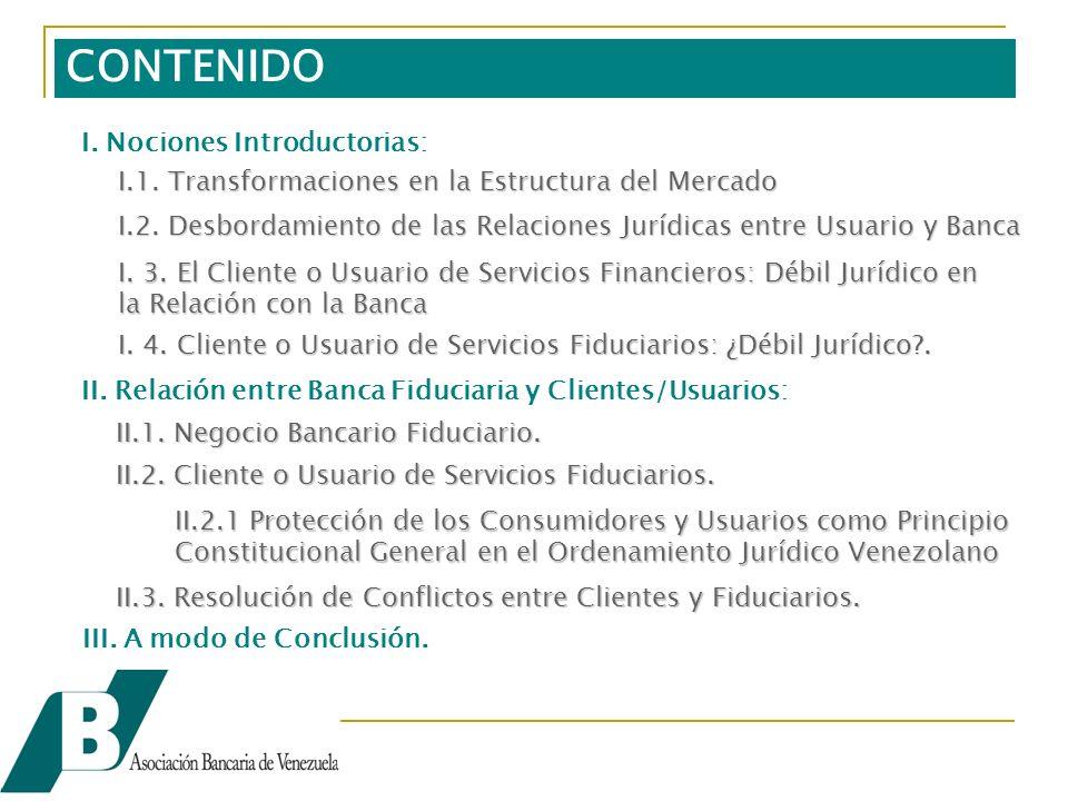 CONTENIDO I.1. Transformaciones en la Estructura del Mercado I.2.