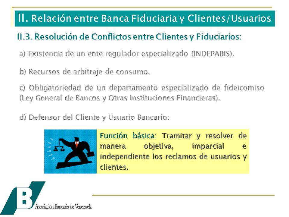 II.3. Resolución de Conflictos entre Clientes y Fiduciarios: a) Existencia de un ente regulador especializado (INDEPABIS). c) Obligatoriedad de un dep