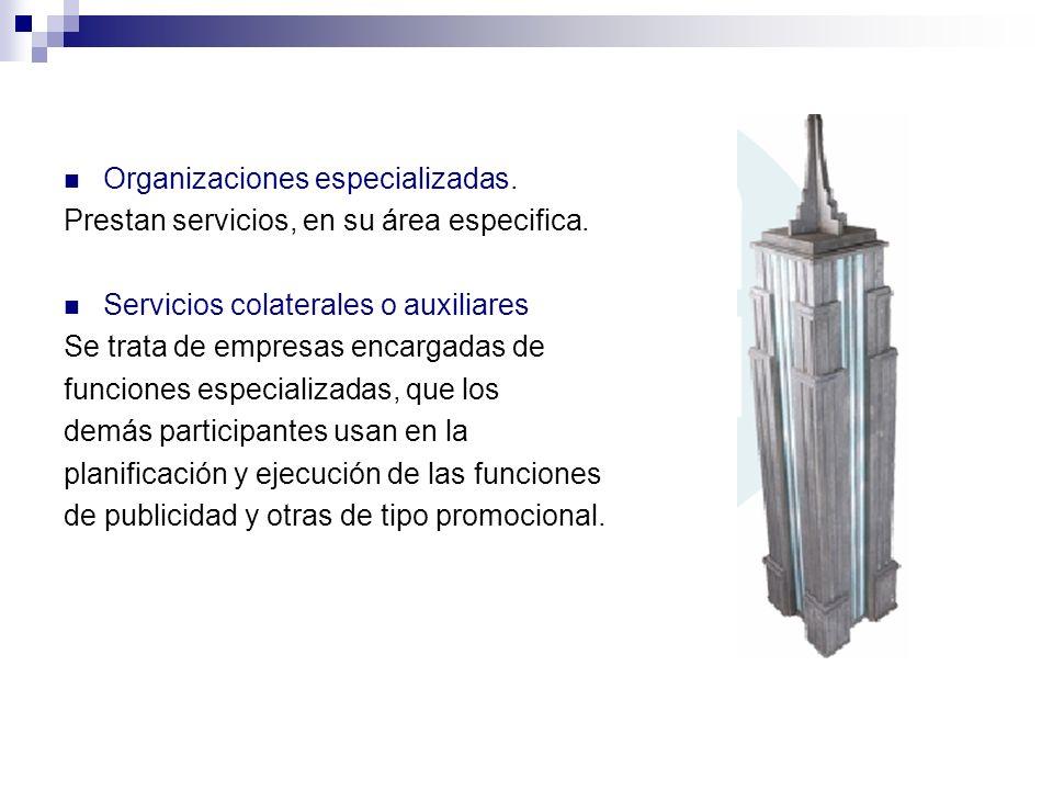 Organizaciones especializadas. Prestan servicios, en su área especifica. Servicios colaterales o auxiliares Se trata de empresas encargadas de funcion