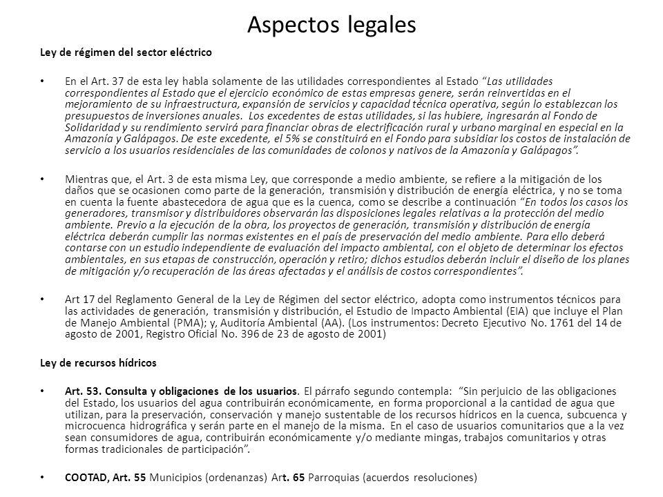 Aspectos legales Ley de régimen del sector eléctrico En el Art. 37 de esta ley habla solamente de las utilidades correspondientes al Estado Las utilid