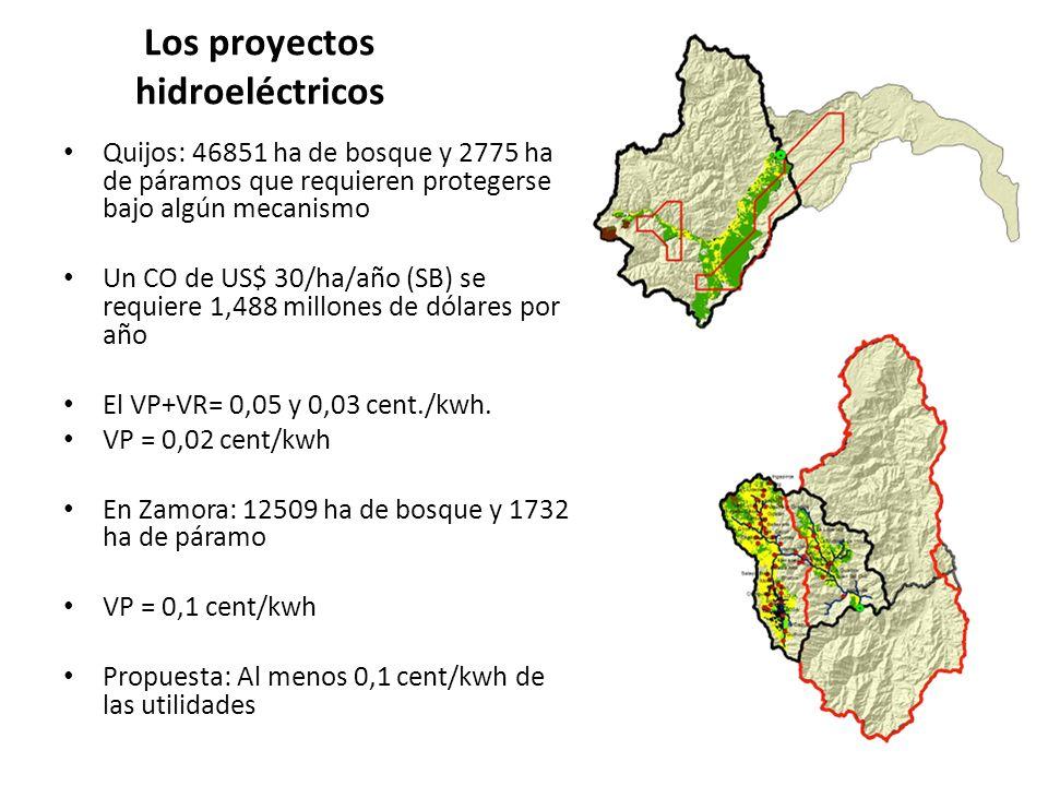 Los proyectos hidroeléctricos Quijos: 46851 ha de bosque y 2775 ha de páramos que requieren protegerse bajo algún mecanismo Un CO de US$ 30/ha/año (SB