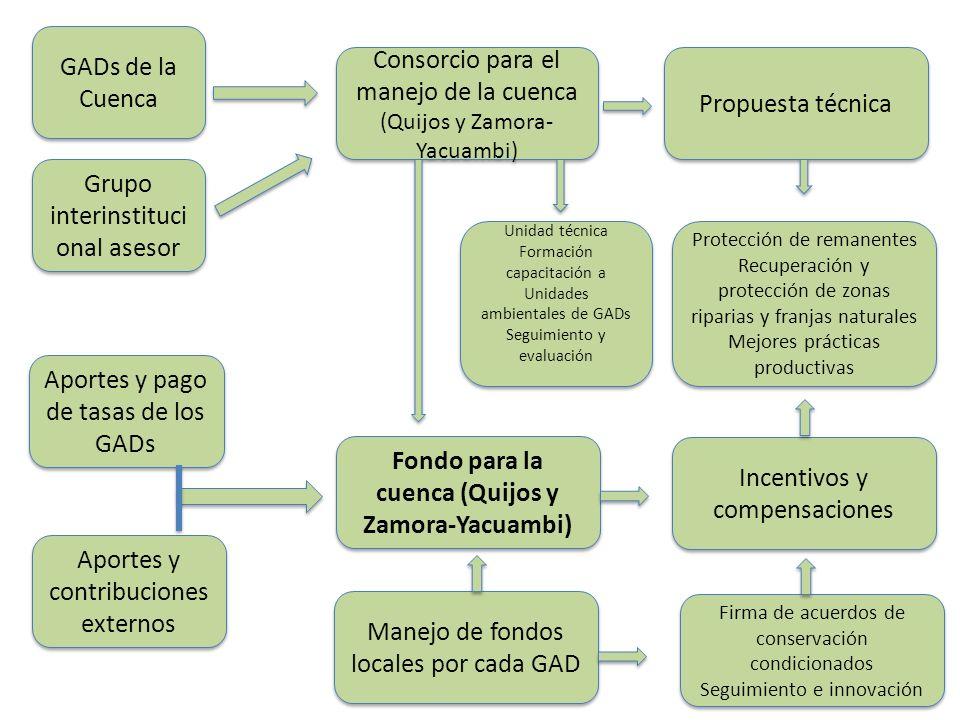 Fondo para la cuenca (Quijos y Zamora-Yacuambi) Firma de acuerdos de conservación condicionados Seguimiento e innovación Firma de acuerdos de conserva