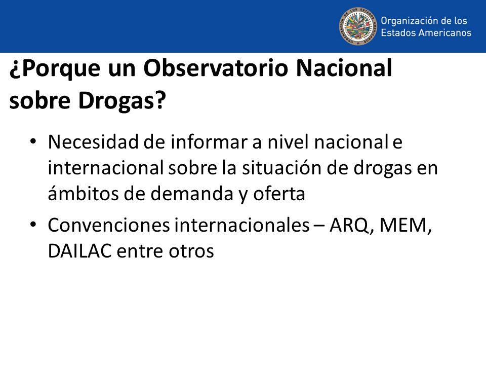 ¿Porque un Observatorio Nacional sobre Drogas? Necesidad de informar a nivel nacional e internacional sobre la situación de drogas en ámbitos de deman