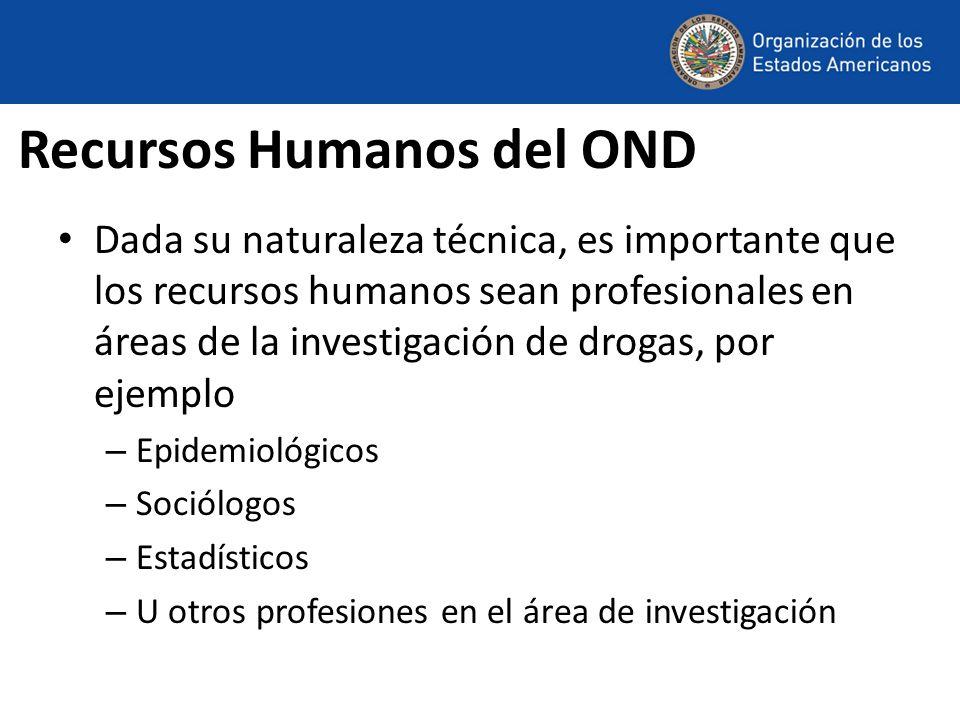 Recursos Humanos del OND Dada su naturaleza técnica, es importante que los recursos humanos sean profesionales en áreas de la investigación de drogas, por ejemplo – Epidemiológicos – Sociólogos – Estadísticos – U otros profesiones en el área de investigación