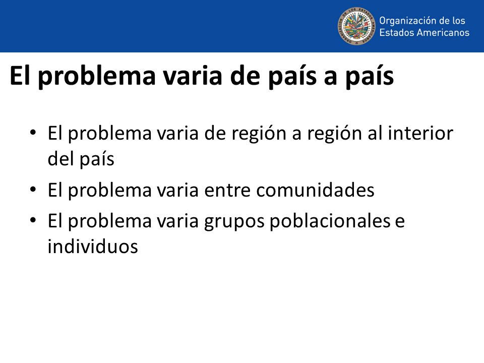 El problema varia de país a país El problema varia de región a región al interior del país El problema varia entre comunidades El problema varia grupo