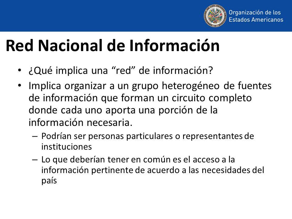 Red Nacional de Información ¿Qué implica una red de información? Implica organizar a un grupo heterogéneo de fuentes de información que forman un circ