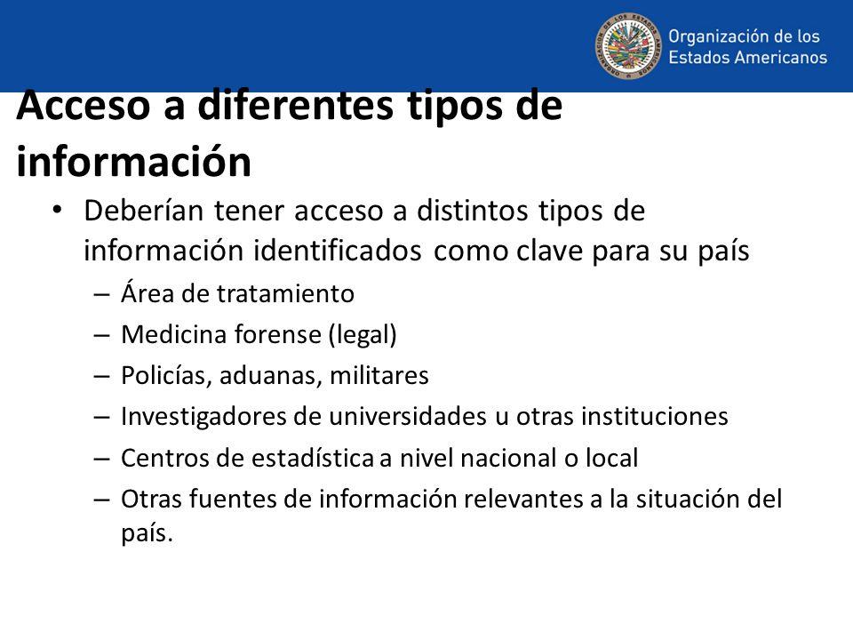 Acceso a diferentes tipos de información Deberían tener acceso a distintos tipos de información identificados como clave para su país – Área de tratam